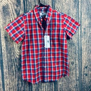 Southern Lure Button Down Red Plaid Short Sleeve M